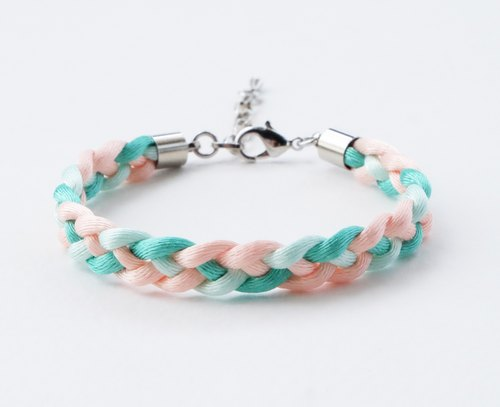 Mint & peach braided bracelet