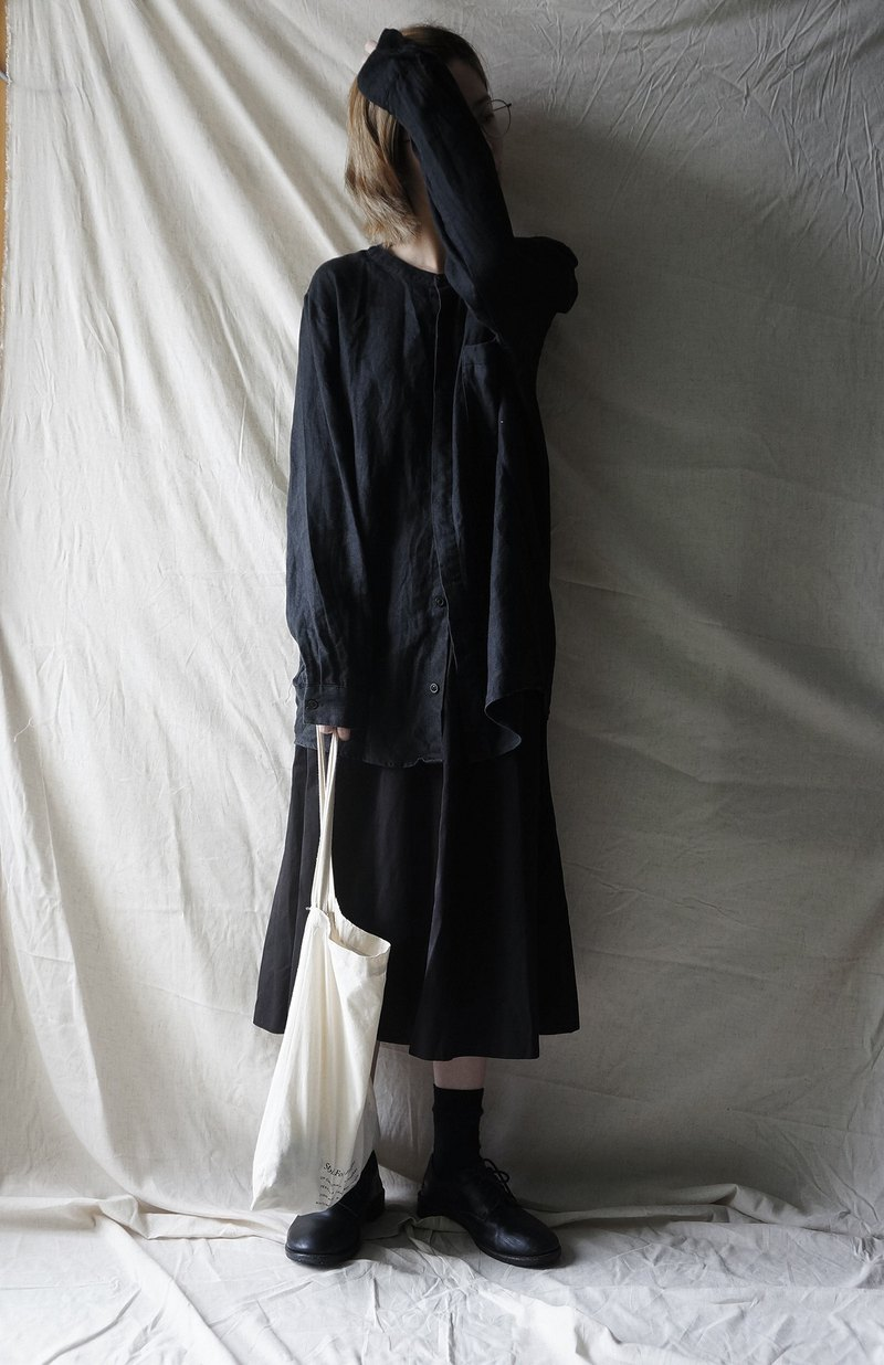 Linen shirt BLACK black linen loose neutral shirt