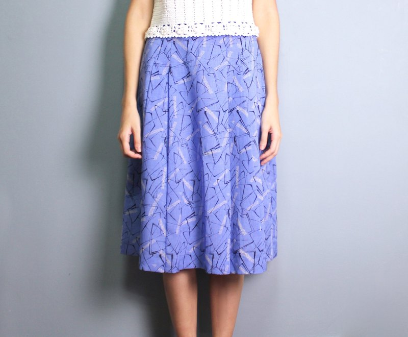FOAK ancient sea blue abstract expression vintage dress