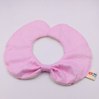 Pink striped round shape bib double yarn saliva towel Mi Yueli