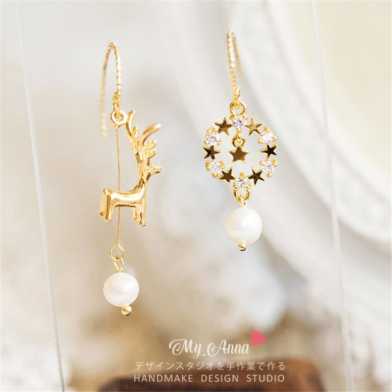 Heart has a deer Japanese cute sweet elk stars asymmetrical 18k gold earrings / ear clip holiday gift