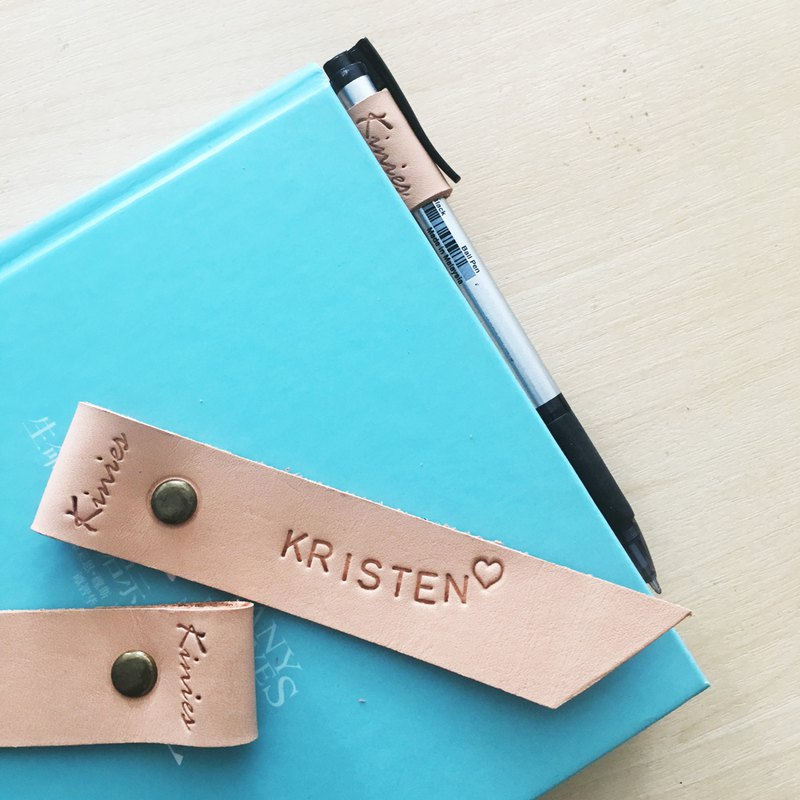 PERSONALIZED LEATHER BOOKMARK WITH PEN SLIP