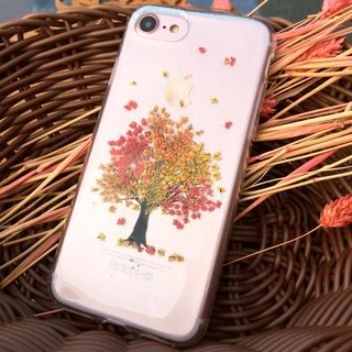 iPhone 7 Handmade Pressed Flowers Case Orange Tree case 009