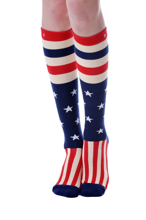 Hong Kong Design | Fool's Day knit knee socks -Star Stripes KH - 00177