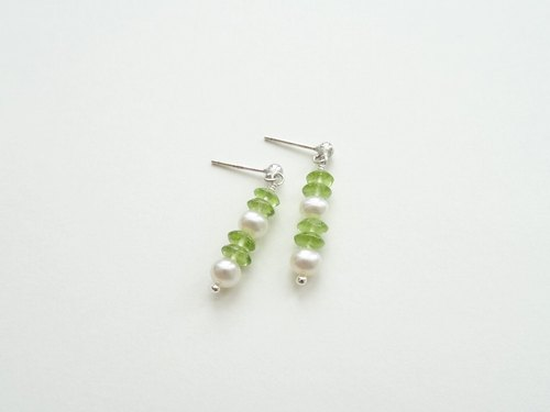 Olive-Green Faceted Peridot and Freshwater Pearl Sterling Silver Earrings