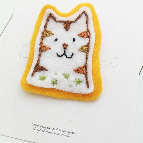 Cha mimi. Hand embroidery Love embroidery!- Pin x Tabby cat
