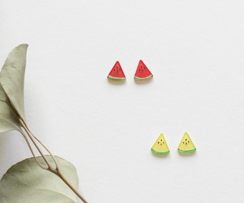 Watermelon Stud Earrings Ear Clips Red Watermelon Yellow Watermelon