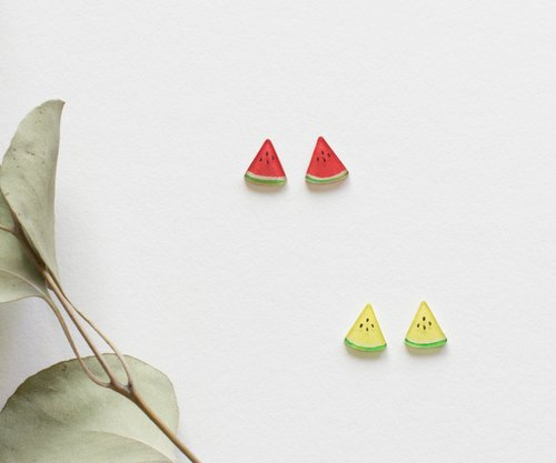 Watermelon earrings earrings ear clip red watermelon yellow watermelon