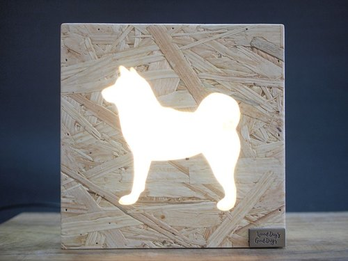 Wooden Boxy Table Lamp - Shiba Inu
