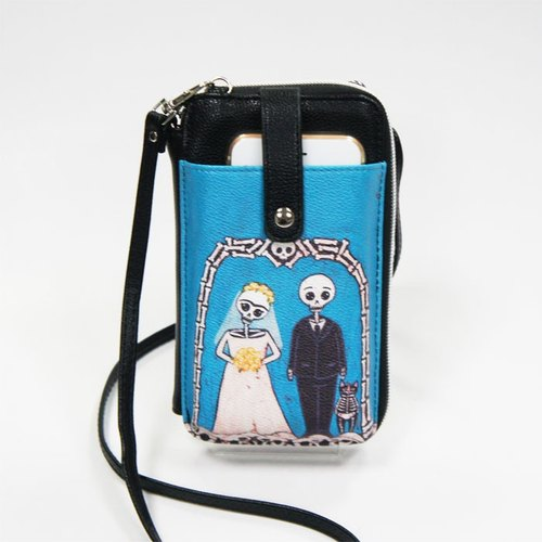 Ashley. M -  skeleton bride and groom cellphone/wallet Crossbody Bag