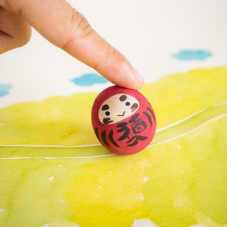 Good luck daruma  - Wooden rocking doll - 達磨