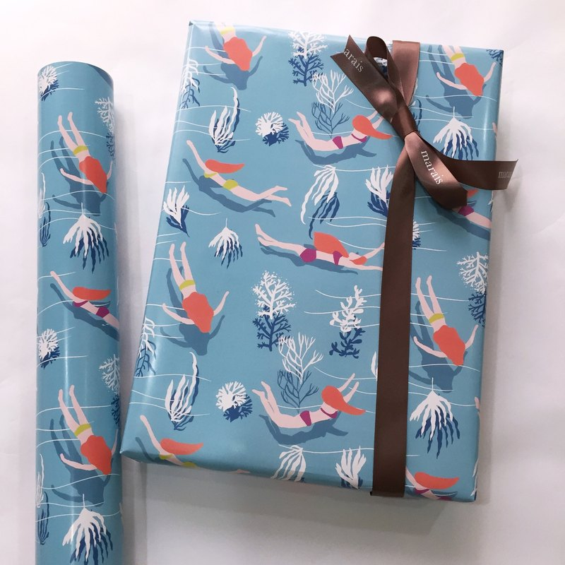 Swim girl submarine coral gift wrapping paper