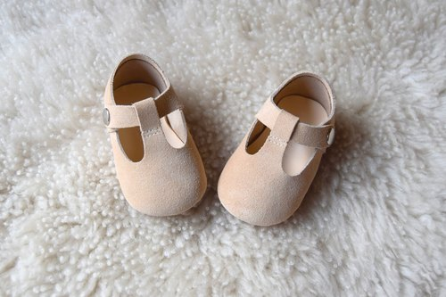 Beige Suede Baby Mary Jane, Sand T-Strap Leather Mary Jane, Tan Baby Girl Shoes
