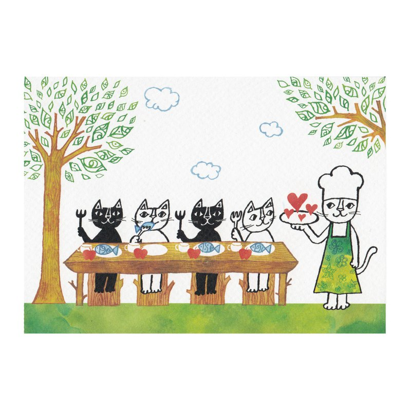 Japanese illustrator Okabe Tetsuro cat postcard [Forest Restaurant - Color Edition]
