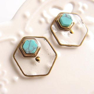 Turquoise (Turkish stone). Clip-on earrings, stainless steel ear pins, silicone earrings