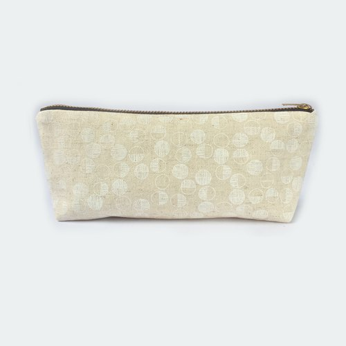 筆袋/化妝袋 Minimalist Canvas Pencil Case Makeup Bag Zip Pouch - Little Maru