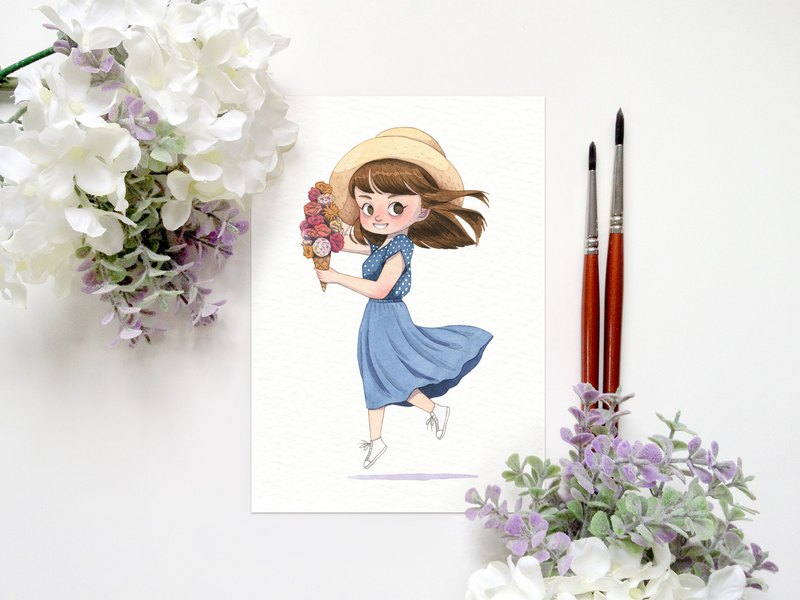 Spring Girl: Flower Ice Cream - A6 Watercolor Art Print, Wall Art, Home Decor