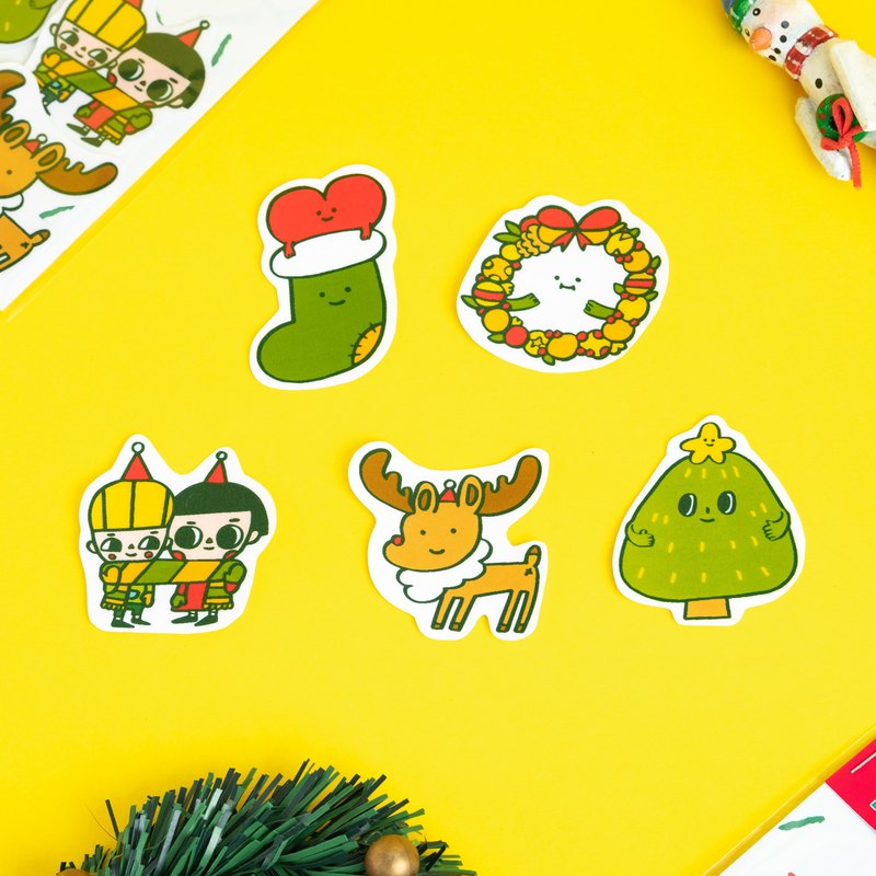 Waterproof sticker / Christmas 1 pack 5 in