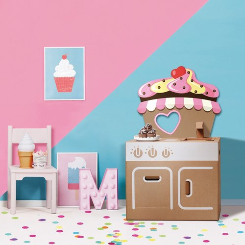 [SiMPLE FUN] mini kitchen (with cupcake back plate sticker) play house wine DIY parent-child creative gift environmental toys
