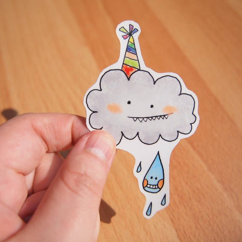 Waterproof stickers - dark clouds and raindrops