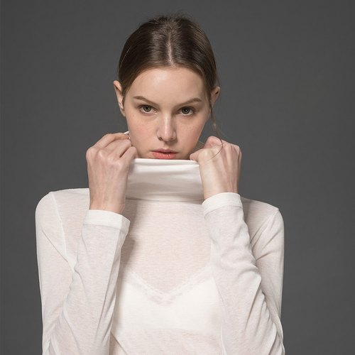 White Turtleneck Slim Fit Shirt