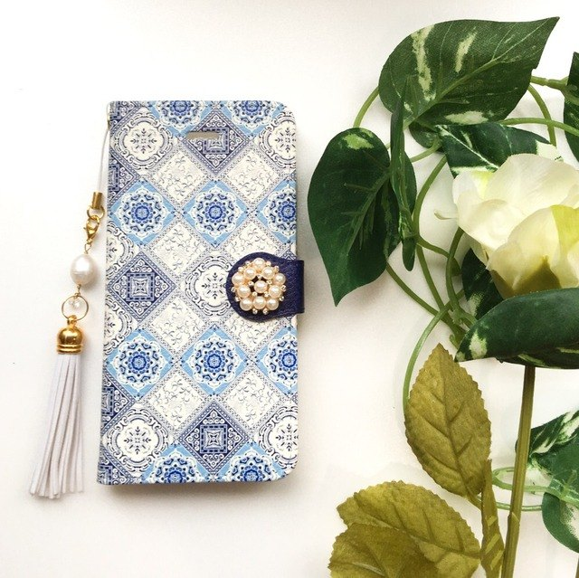 【Pajour】 (navy) Iznik tile pattern notebook type smartphone case 【iPhone】 【notebook】 [tile pattern]