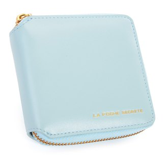 La Poche Secrete Christmas gift: candy girl's short leather folder folder _ ㄇ-type zipper off _ Fantasy Blue 028