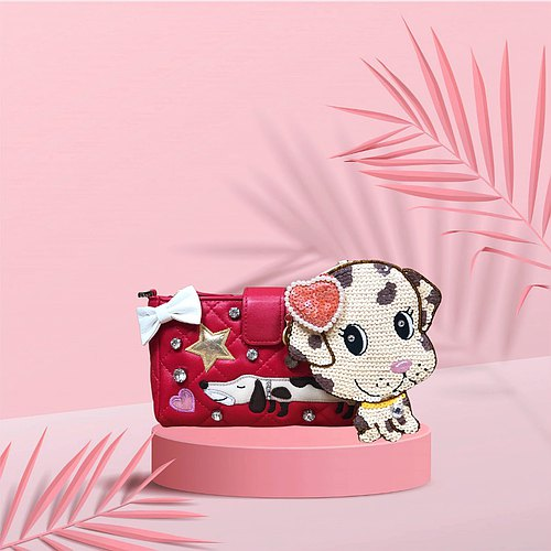 Lovely Dog Appliqué Crossbody Leather Pouch
