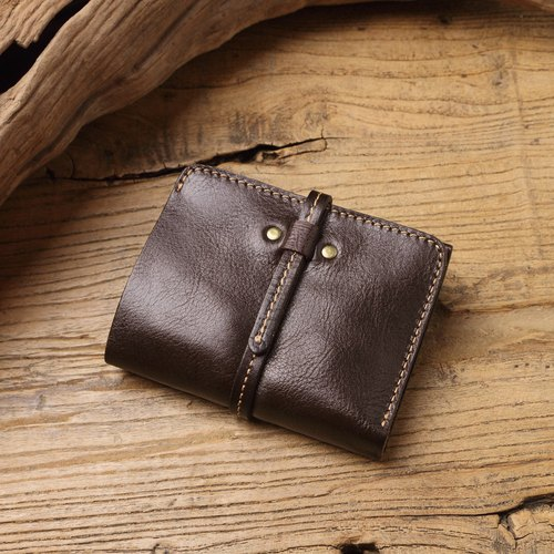handmade leather short clip / wallet