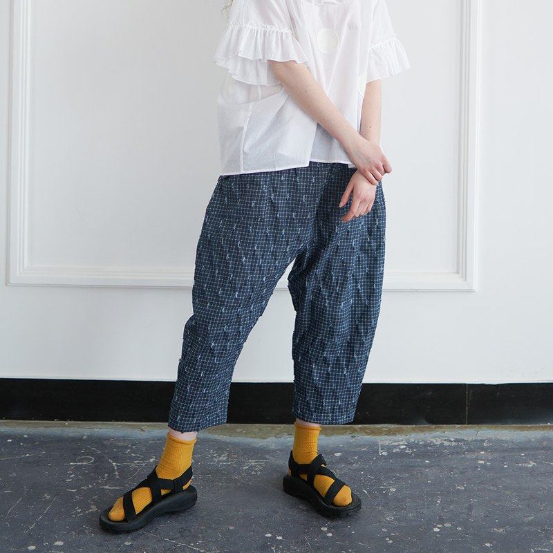 Broken denim blue plaid pants - imakokoni