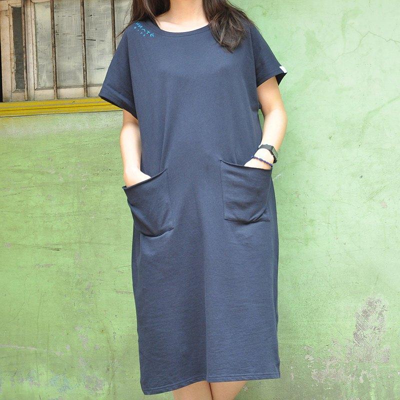 無拘束棉質長版落肩洋裝 古著寬版雙口袋連身裙-夜月藍