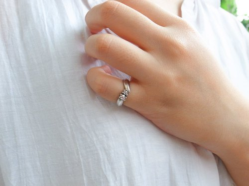 Minimalist ribbed double diamond ring 925 sterling silver custom ring ring color changeable