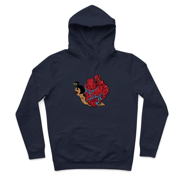 Heart snail - dark blue - Hooded T-Shirt