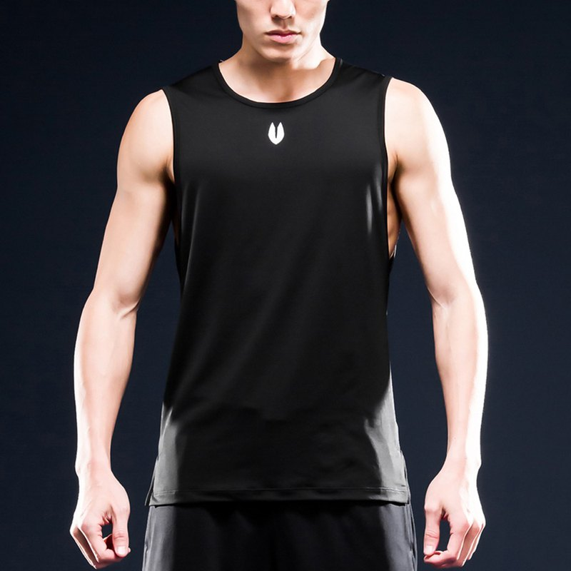 AquaTouch InstaDRY Men's Sleeveless Low Neck Slim Fit Training T - Black