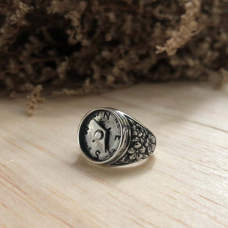 compass ring sterling silver nautical women statement Traveler rose Flower boho