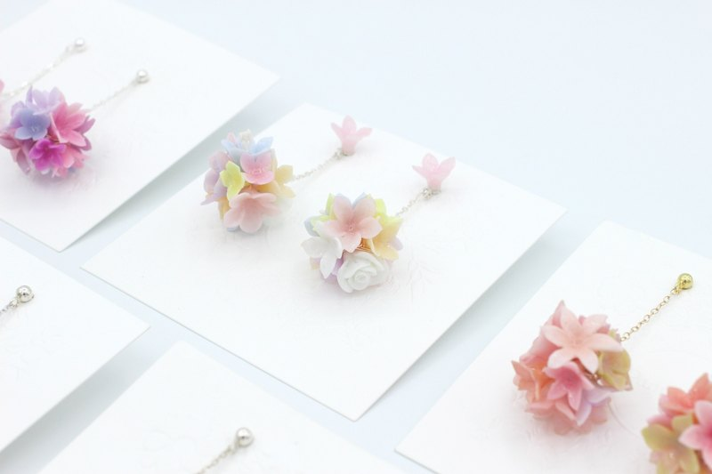 Pamycarie Spring resin clay flower ball 925 sterling silver earrings Limited No. 2