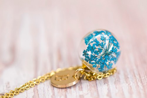Blue Dill Flower in Glass Ball Stainless Steel Necklace