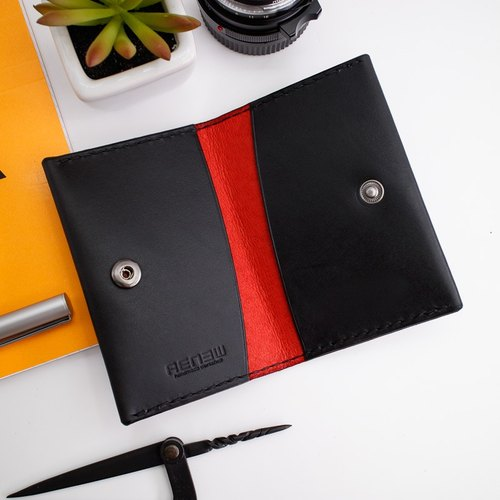 RENEW - Vegetable tanned leather cowhide hand-made double-sided card holder / card holder