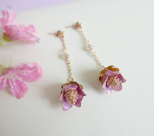 Aramore hanging copper flower earrings ﹝ single production ﹞