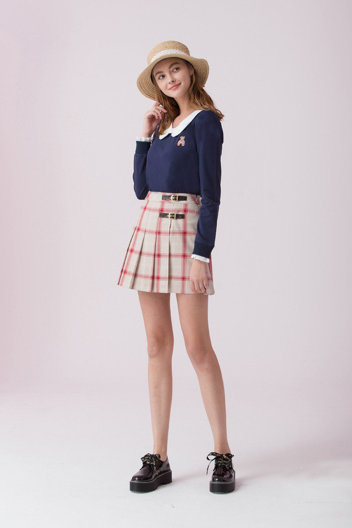 Fake two-piece butterfly collar sweater 826F312