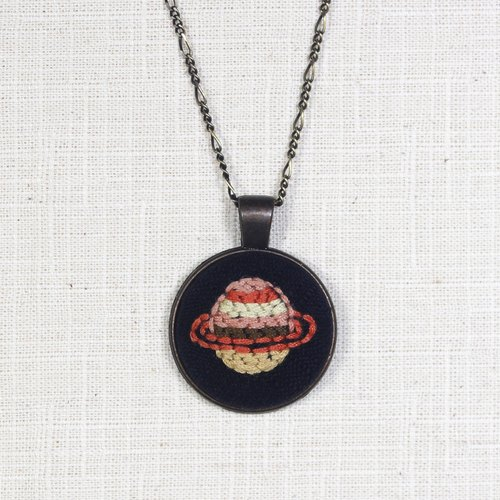 Cosmic Saturn handmade embroidery necklace