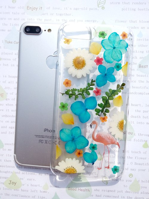 Pressed flowers phone case, iPhone 7 plus, iPhone 8 plus, Spring color