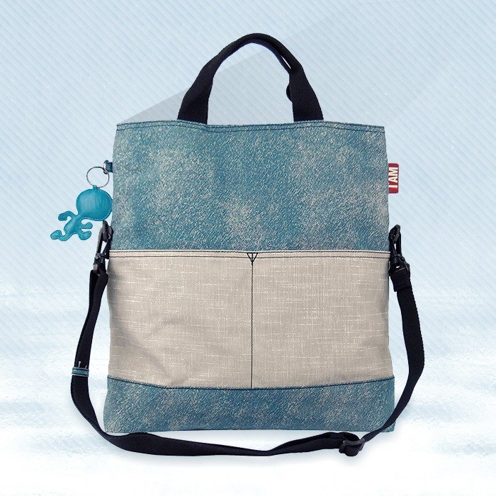 [Free shipping] I AM - tannin series MADISON hand carry / shoulder bag (large) - blue and gray denim