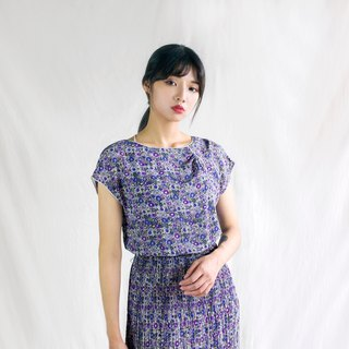 Classical abstract lavender half sleeve vintage dress