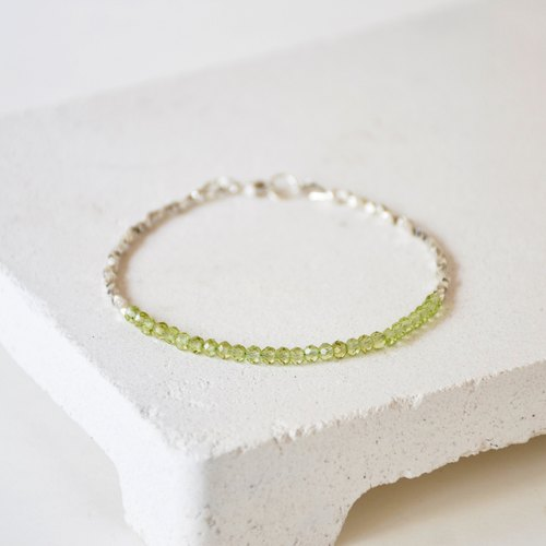Handmade Green Grossular Peridot beads with 925 silver Bracelet
