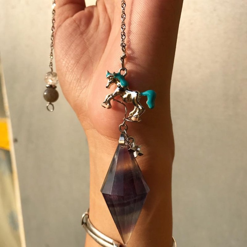 【Lost And Find】Natural  galaxy  Pegasus fluorite pendulum necklace