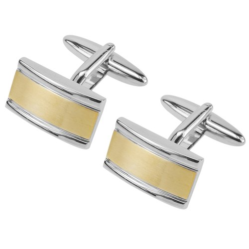 Brush Gold Two Tone Bridge Cufflinks