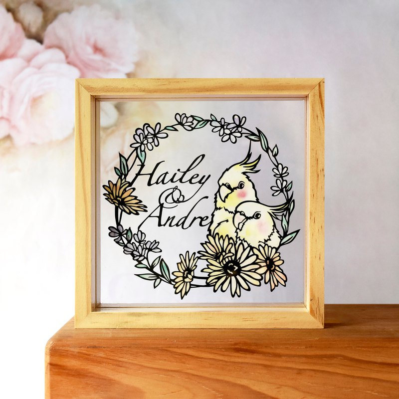 Handmade Paper craft Customized Personalized Frame, Cockatiel Parrot Theme