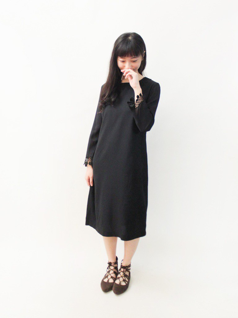 Vintage Early Spring Elegant Lace Cuffs Black Long Sleeve Vintage Dress Vintage Dress Black