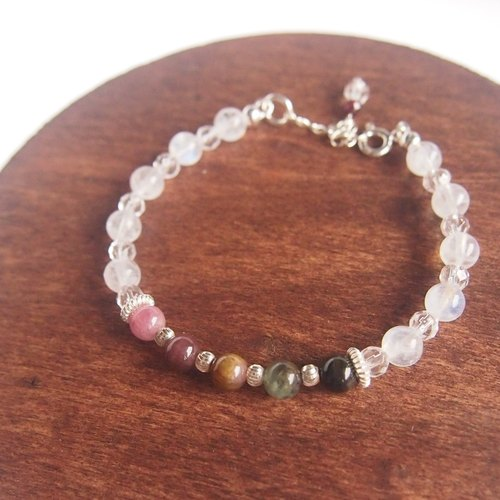 ✦ Rainbow Moonlight ✦ | Limited Turquoise Moonlightstone Sterling Silver Simple colorful bracelet
